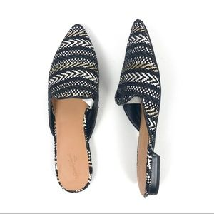 Universal Thread Woven Black and Tan Mule Flats